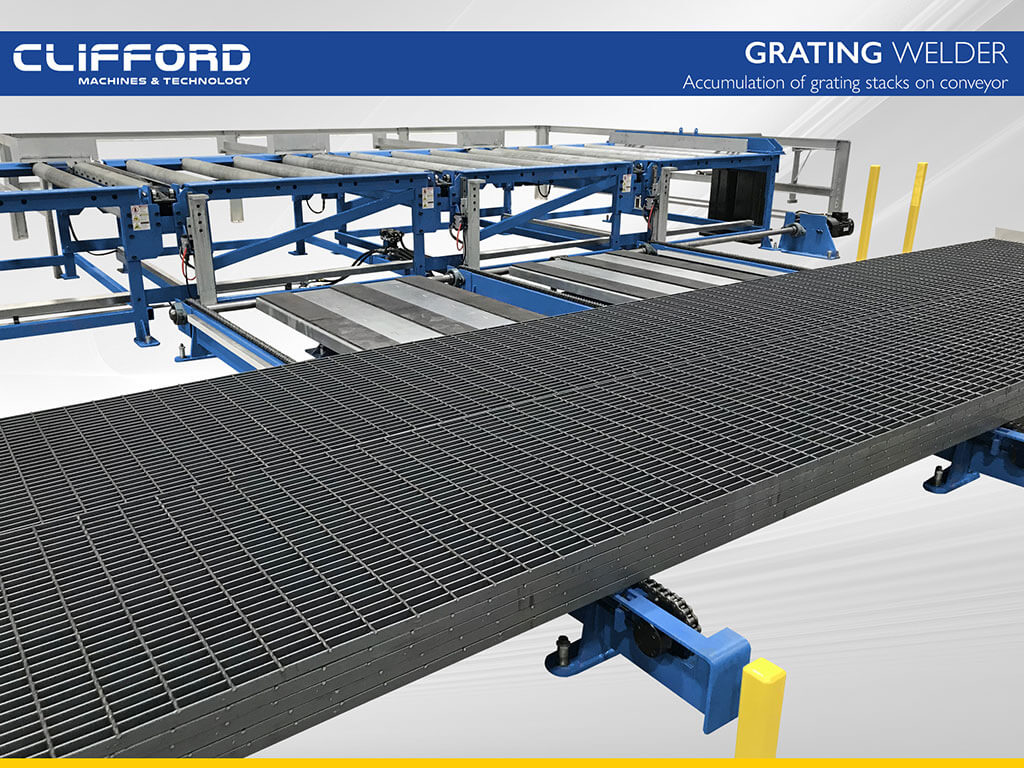 Accumulation of grating stacks on conveyor