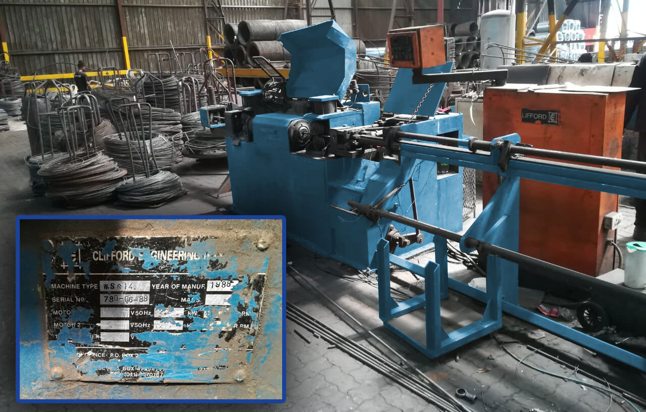 WS 614 Wire straightening and cutting machine. Manufactured in 1988