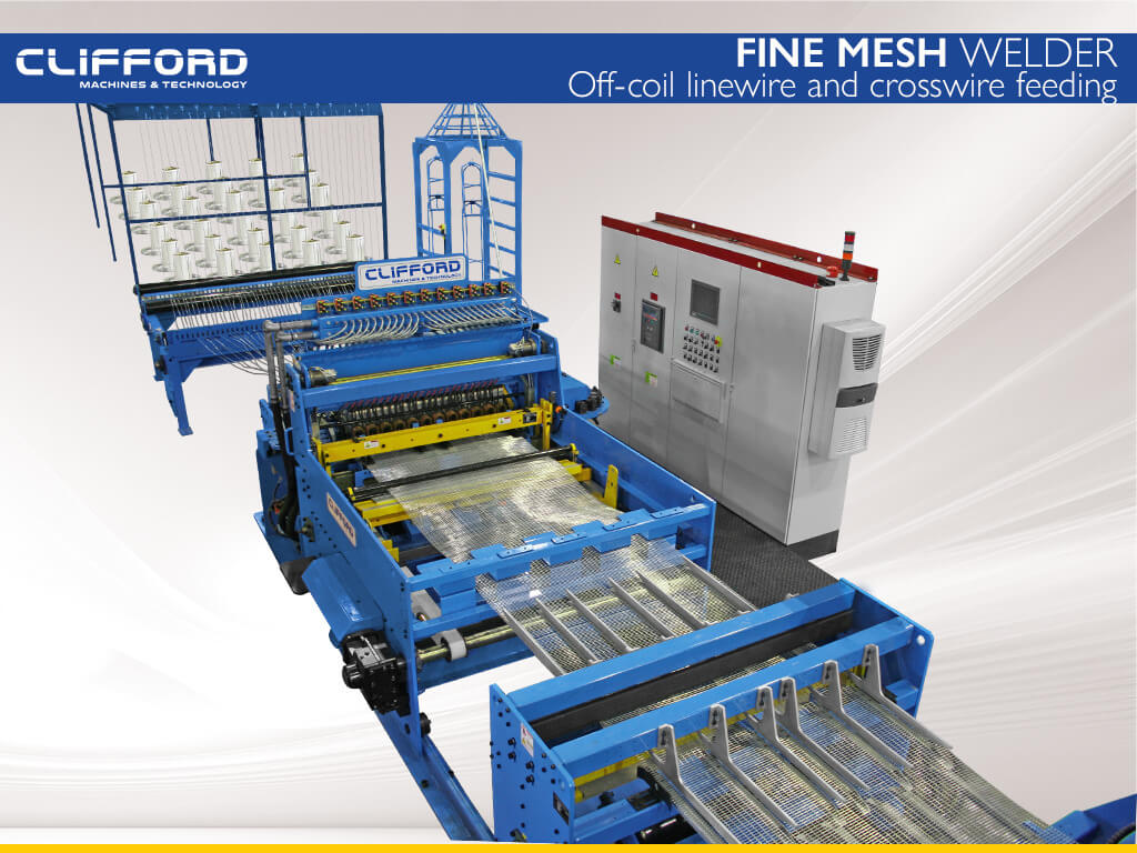 High speed mesh welding line with off-coil linewire and crossswire feeding systems