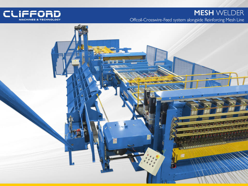Offcoil Crosswire Feed system alongside Reinforcing Mesh Line