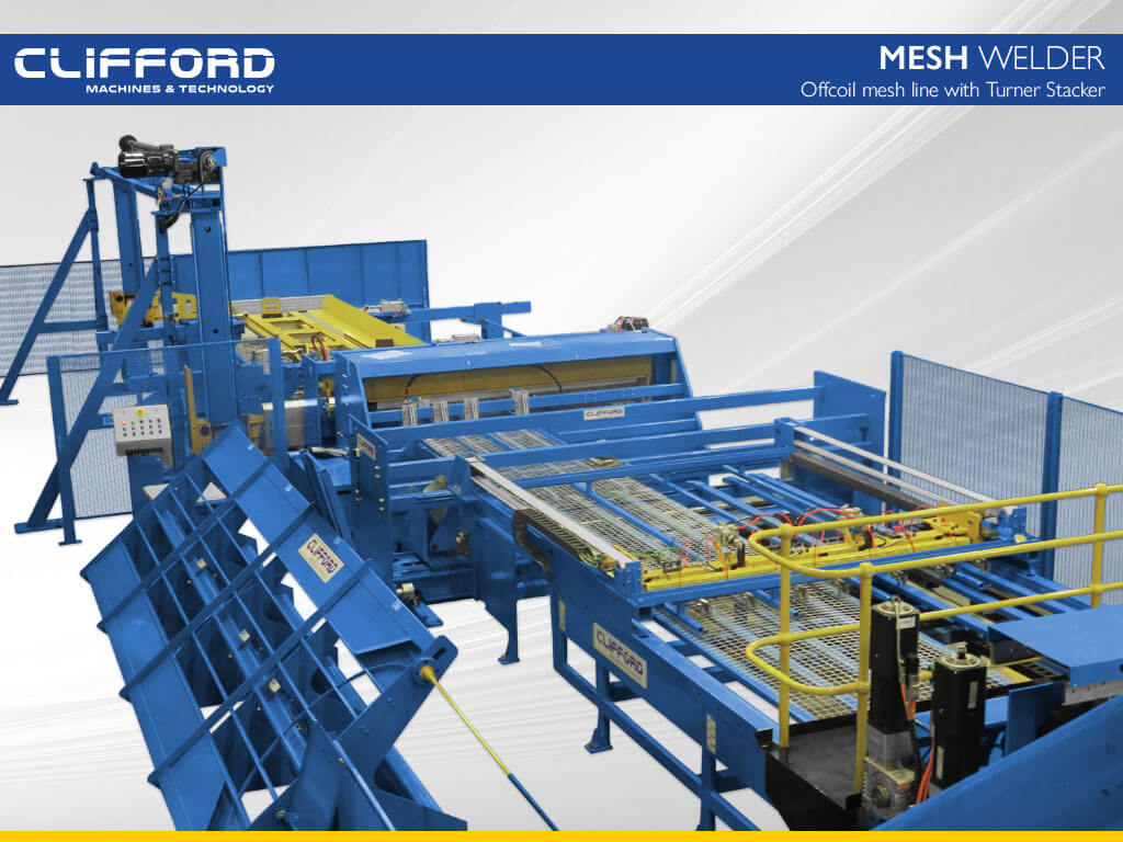 Offcoil mesh line with Turner Stacker