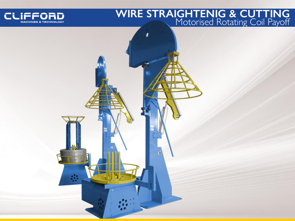 Wire straightening and cut to length machine - Motorised Rotating Coil Payoffs