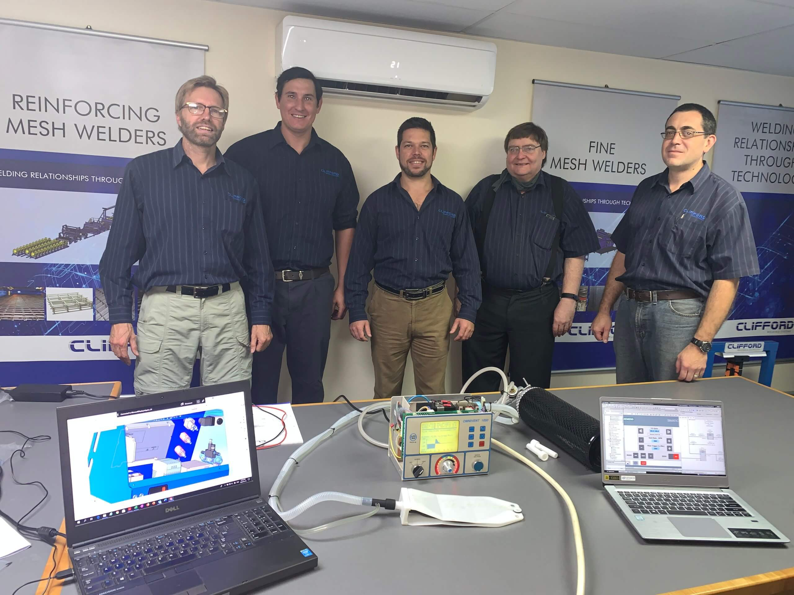 Iain Ambler, Quintis Hatting, Phillip Pretorius, Steve Cilliers and Carl-Johan van Eeden of Clifford Machines & Technology.