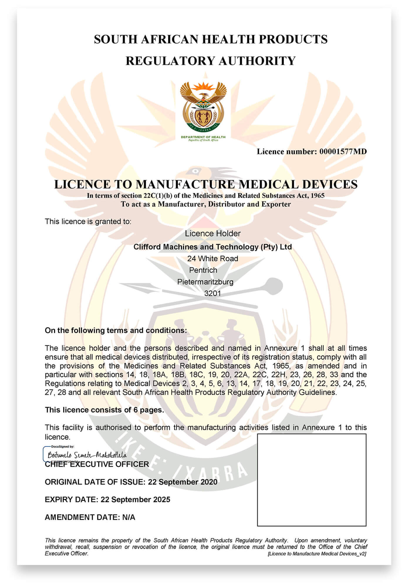 License to manufacture medical devices